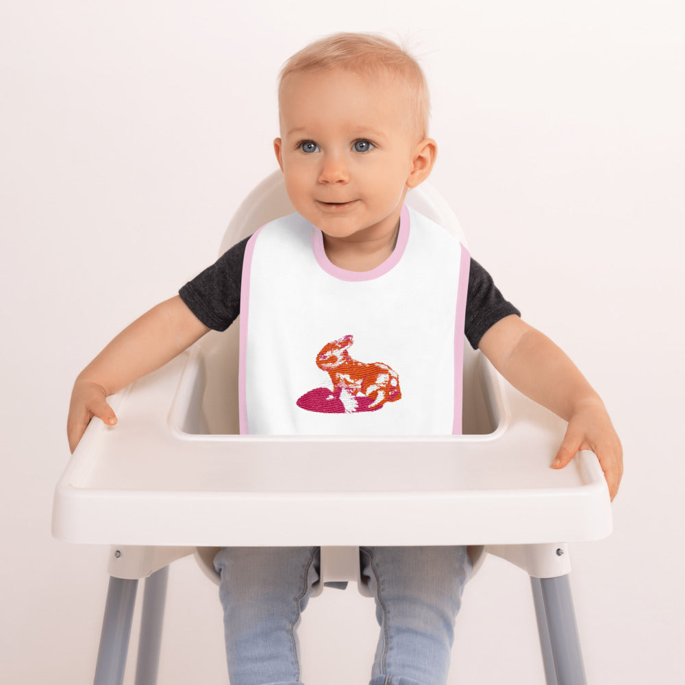 Embroidered Baby Bib: Rabbit