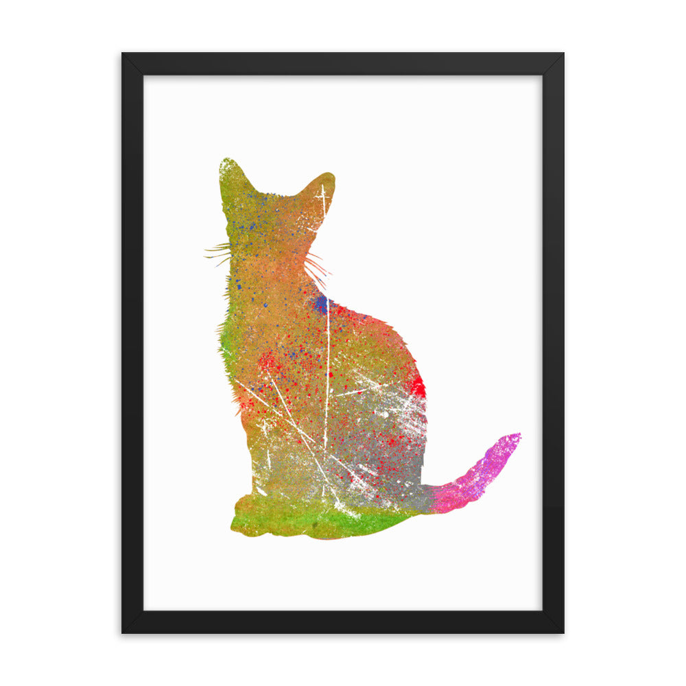 Enhanced Matte Paper Framed Poster (in): Abyssinian Cat Silhouette