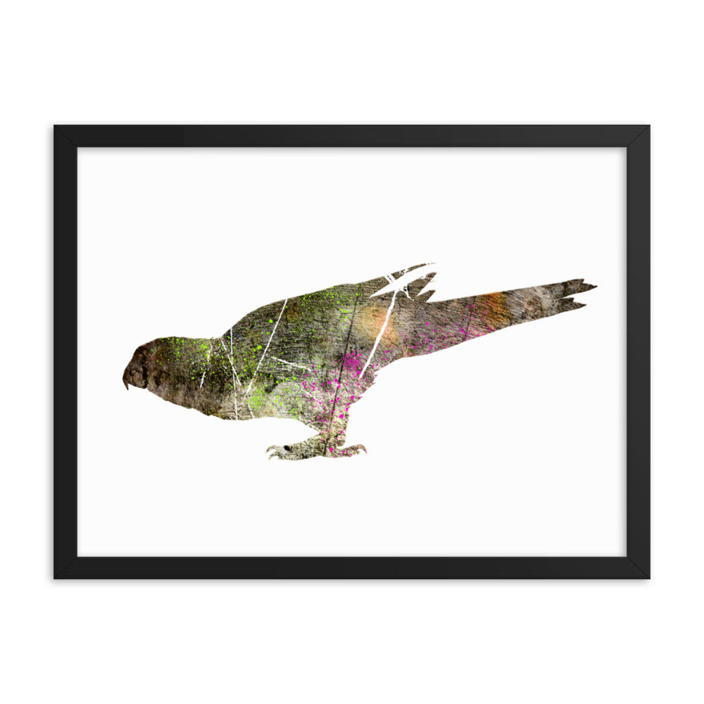 Enhanced Matte Paper Framed Poster (in): Parrot Silhouette