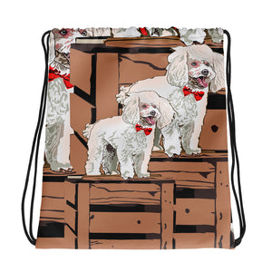 All-Over Print Drawstring Bag: Poodle