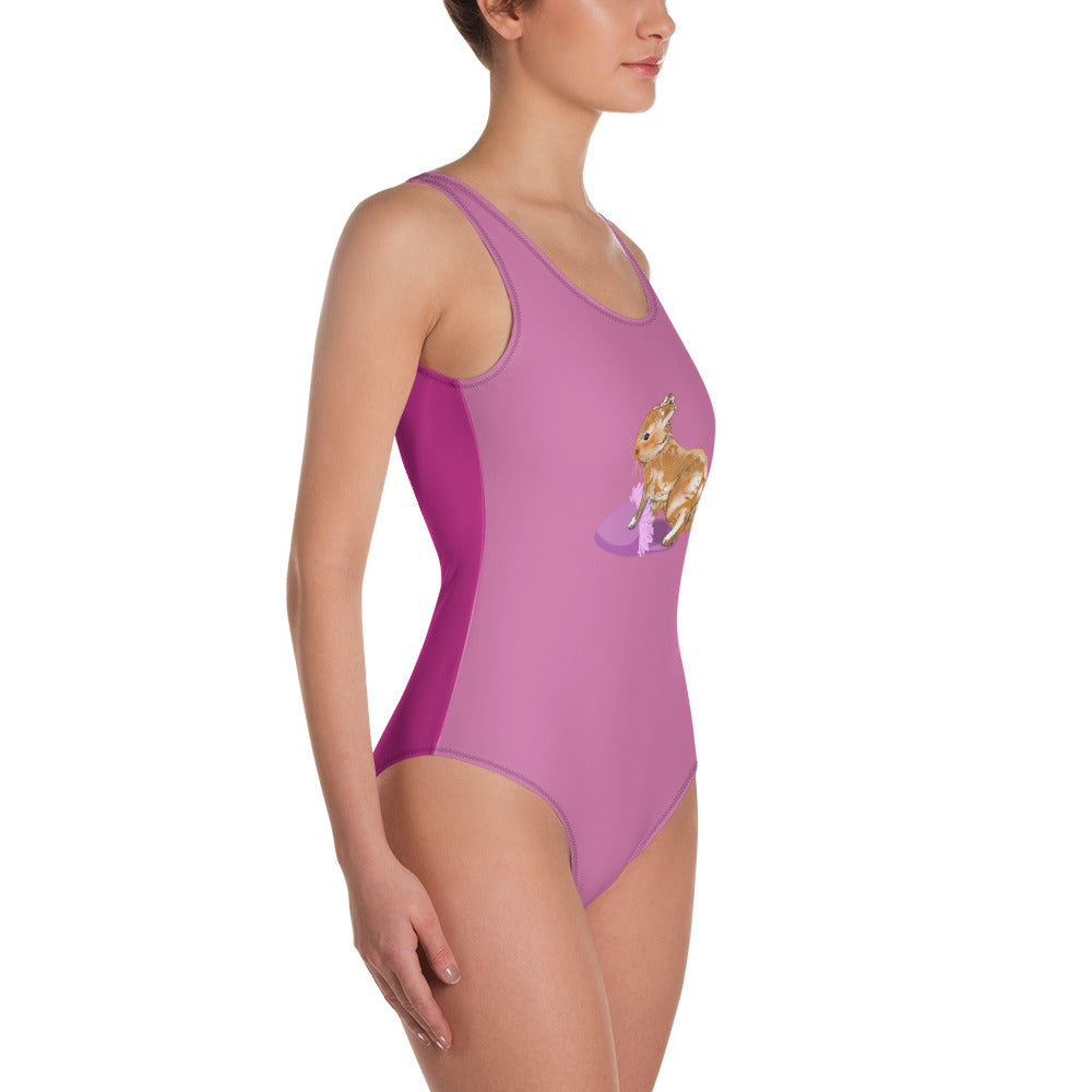 All-Over Print One-Piece Swimsuit: Rabbit