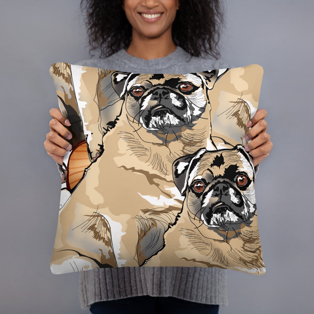 All-Over Print Basic Pillow: Pug