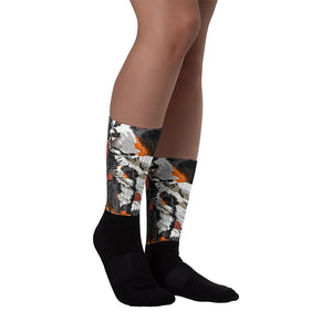 Black Foot Sublimated Socks: Bernese Mountain Dog