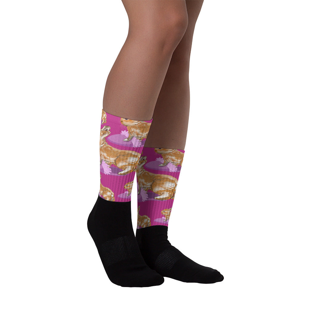Black Foot Sublimated Socks: Rabbit