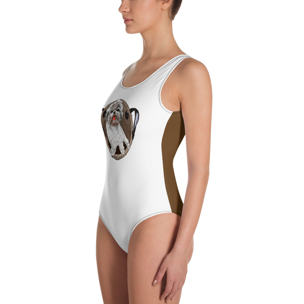 All-Over Print One-Piece Swimsuit: Shih Tzu
