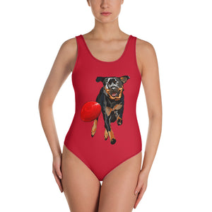 All-Over Print One-Piece Swimsuit: Rottweiler