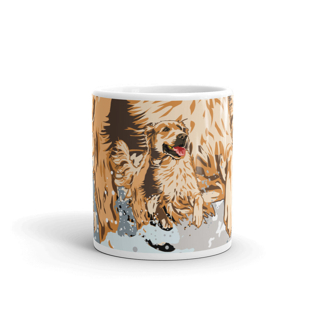 White Glossy Mug: Golden Retriever