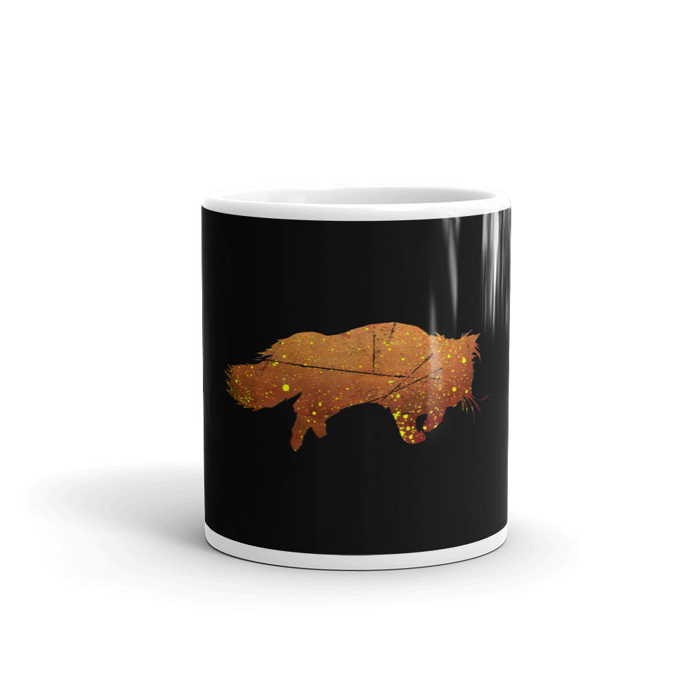 White Glossy Mug: Persian Cat Silhouette