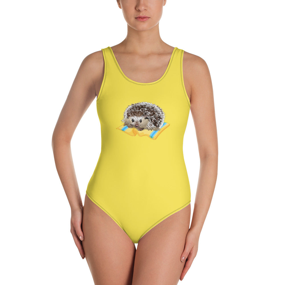 All-Over Print One-Piece Swimsuit: Hedgehog
