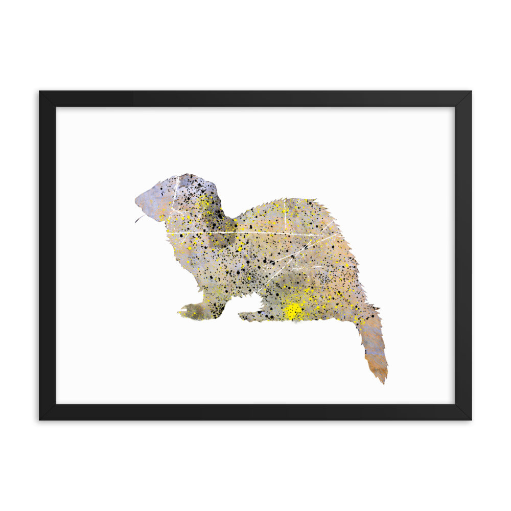 Enhanced Matte Paper Framed Poster (in): Ferret Silhouette
