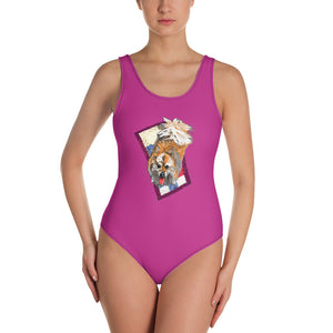 All-Over Print One-Piece Swimsuit: Pomeranian