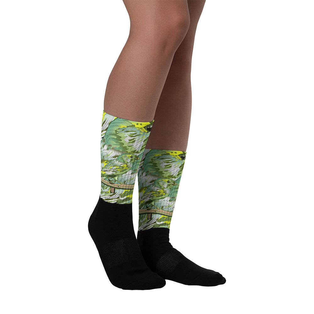 Black Foot Sublimated Socks: Canary