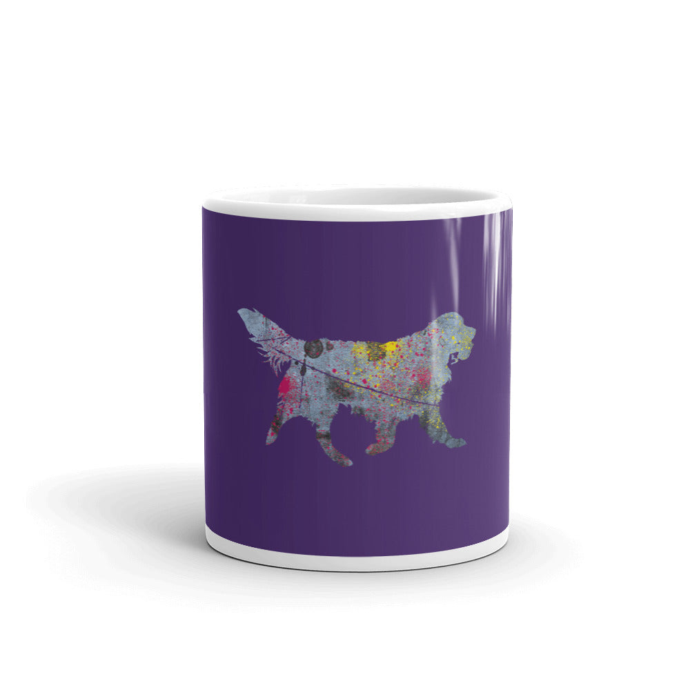 White Glossy Mug: Golden Retriever Silhouette