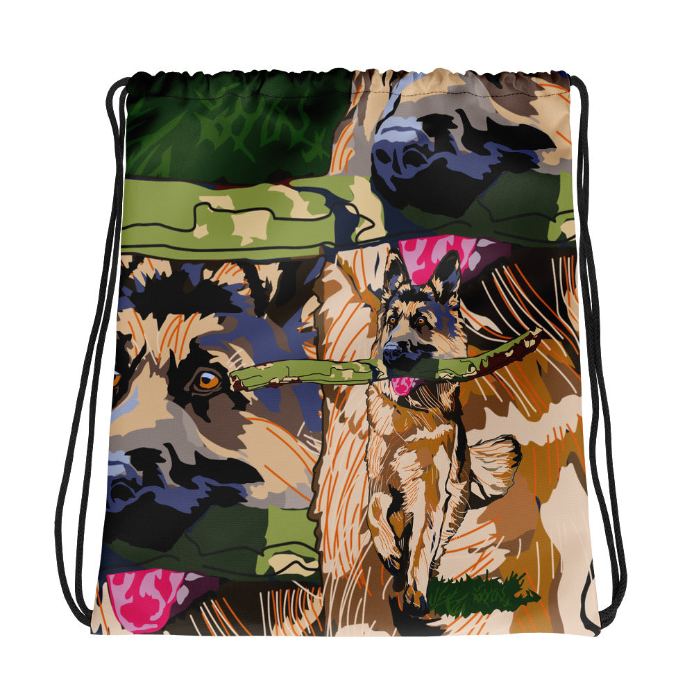 All-Over Print Drawstring Bag: German Shepherd
