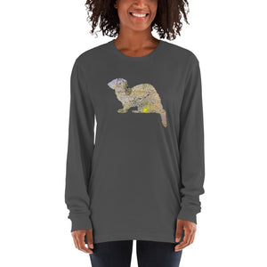 Unisex Long Sleeve Shirt: Ferret Silhouette