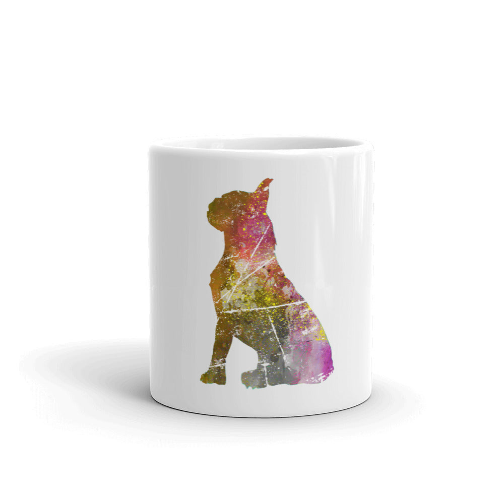 White Glossy Mug: Boston Terrier Silhouette
