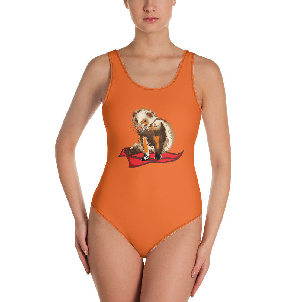 All-Over Print One-Piece Swimsuit: Ferret