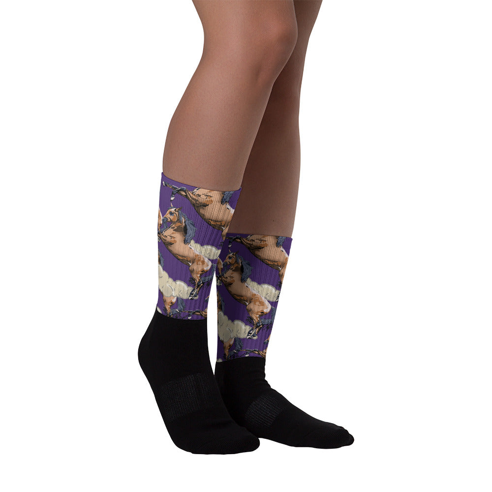 Black Foot Sublimated Socks: Horse