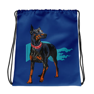 All-Over Print Drawstring Bag: Doberman Pinscher