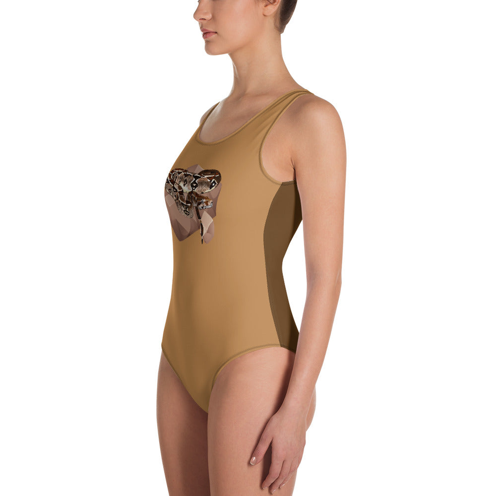 All-Over Print One-Piece Swimsuit: Boa Constrictor