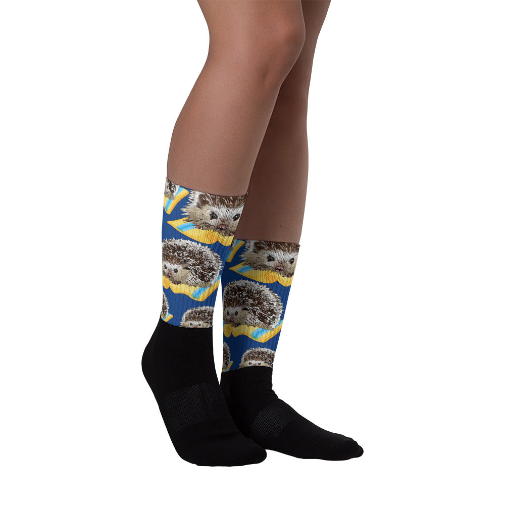 Black Foot Sublimated Socks: Hedgehog