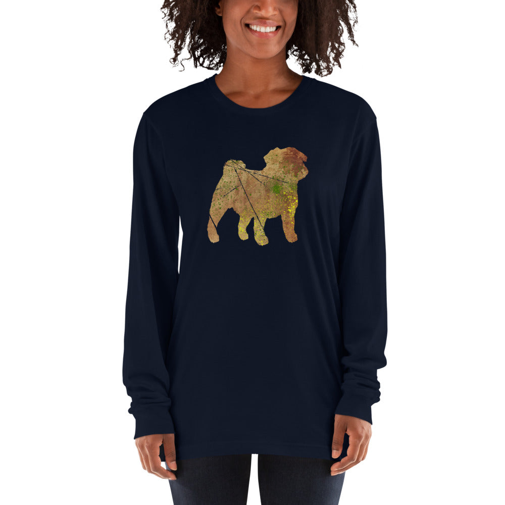 Unisex Long Sleeve Shirt: Pug Silhouette