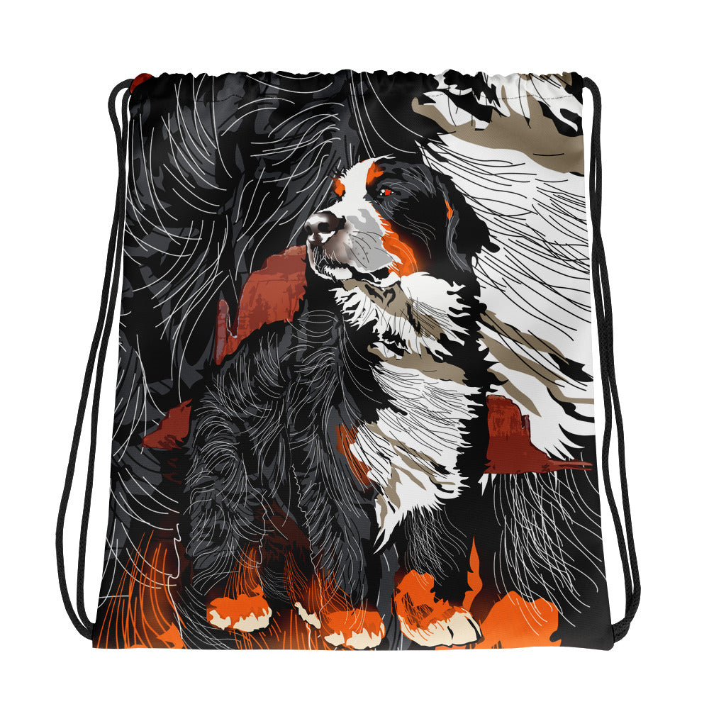 All-Over Print Drawstring Bag: Bernese Mountain Dog