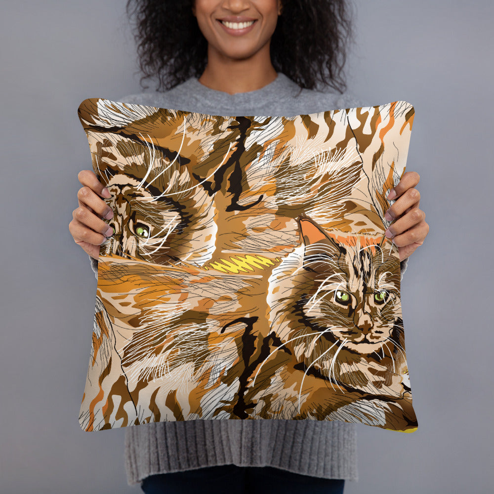 All-Over Print Basic Pillow: Maine Coon