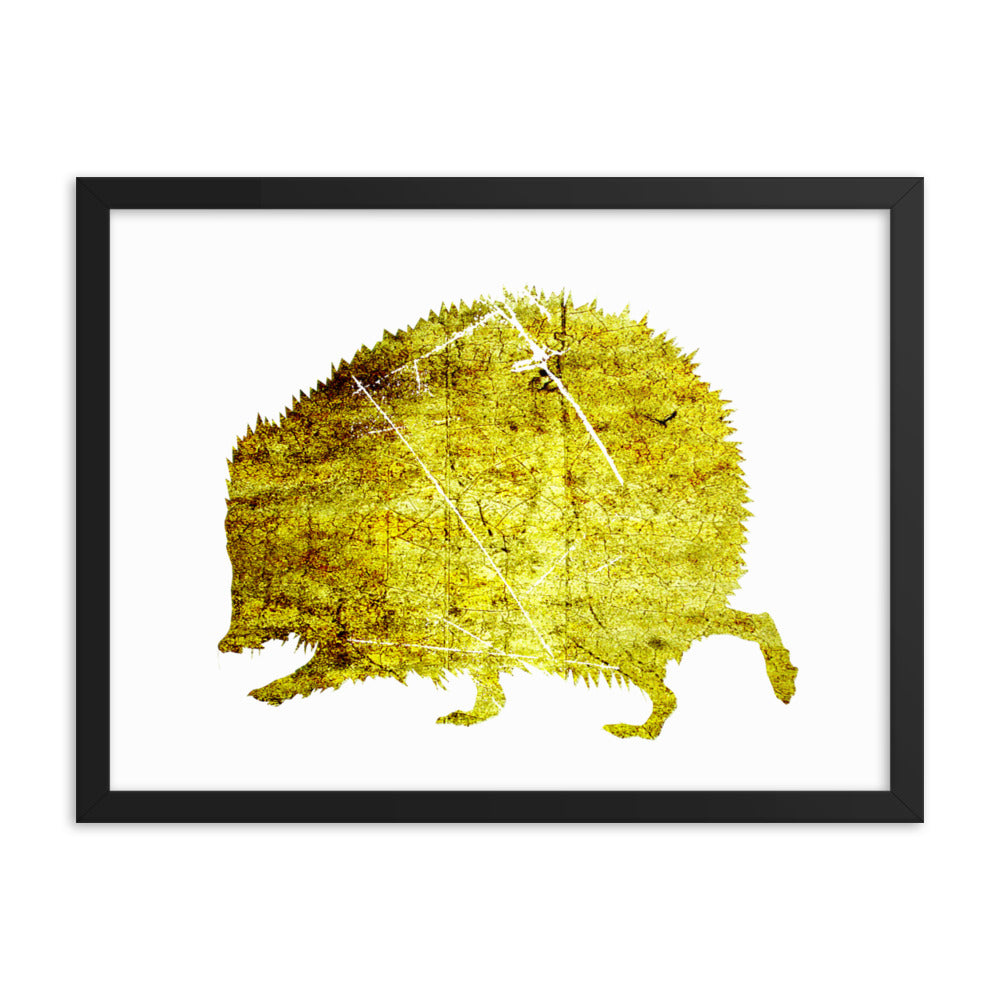 Enhanced Matte Paper Framed Poster (in): Hedgehog Silhouette
