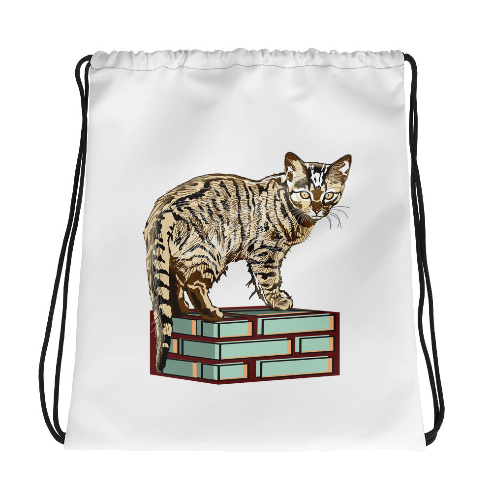 All-Over Print Drawstring Bag: Bengal Cat