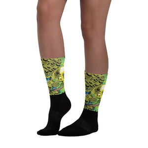 Black Foot Sublimated Socks: Parakeet