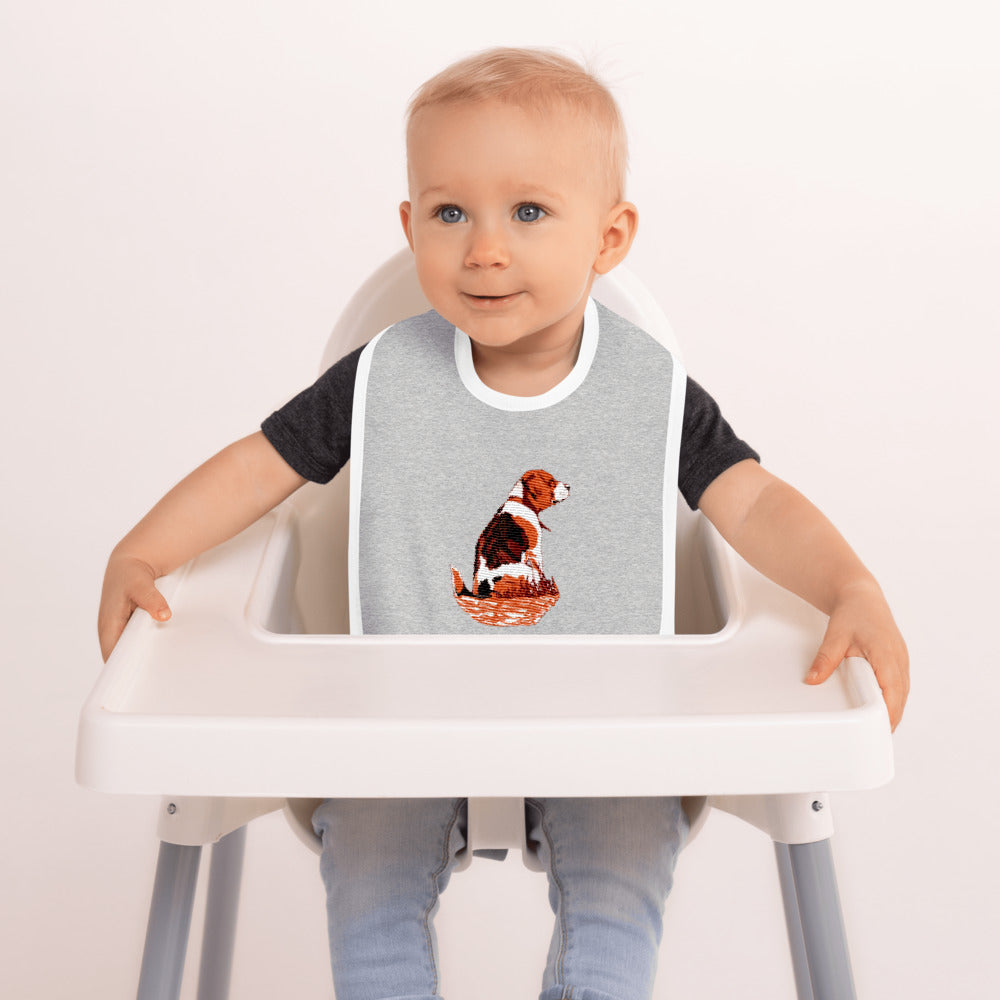 Embroidered Baby Bib: Beagle