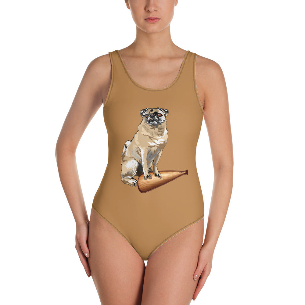 All-Over Print One-Piece Swimsuit: Pug