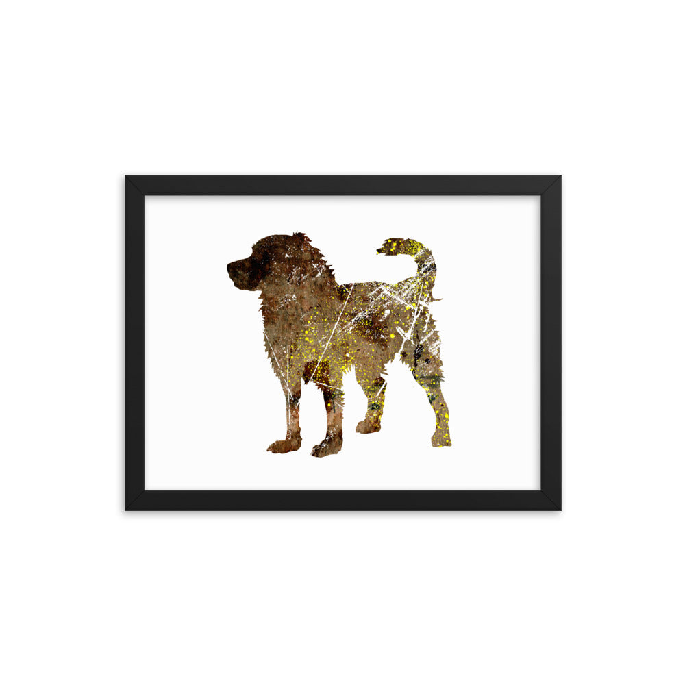 Enhanced Matte Paper Framed Poster (in): Bernese Mountain Dog Silhouette