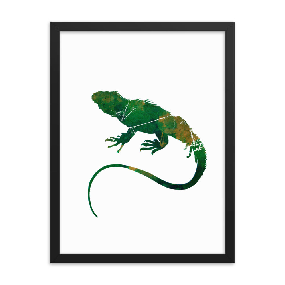 Enhanced Matte Paper Framed Poster (in): Iguana Silhouette