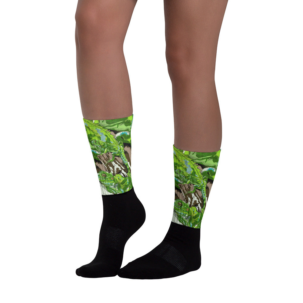Black Foot Sublimated Socks: Iguana