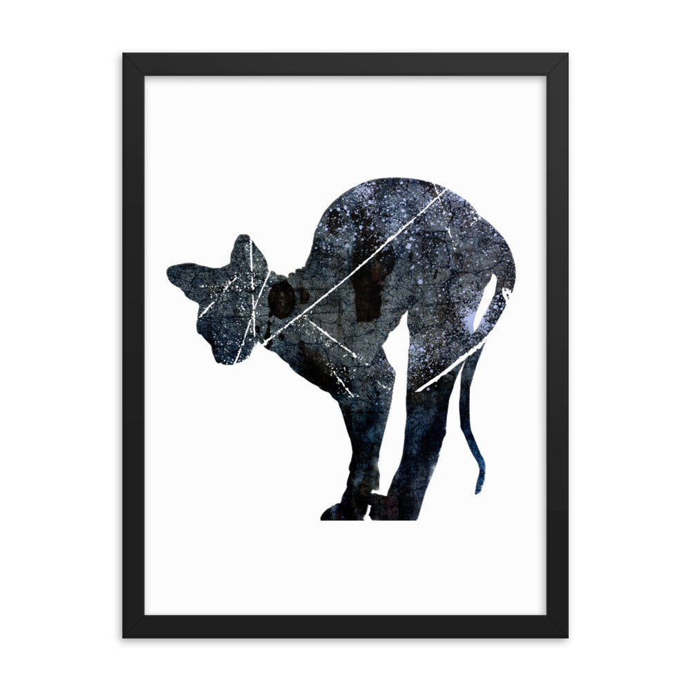 Enhanced Matte Paper Framed Poster (in): Sphynx Cat Silhouette