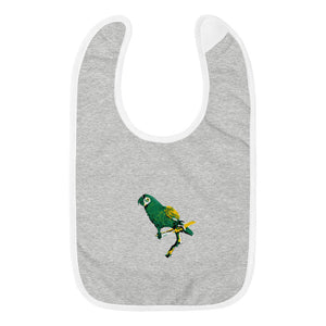 Embroidered Baby Bib: Parrot