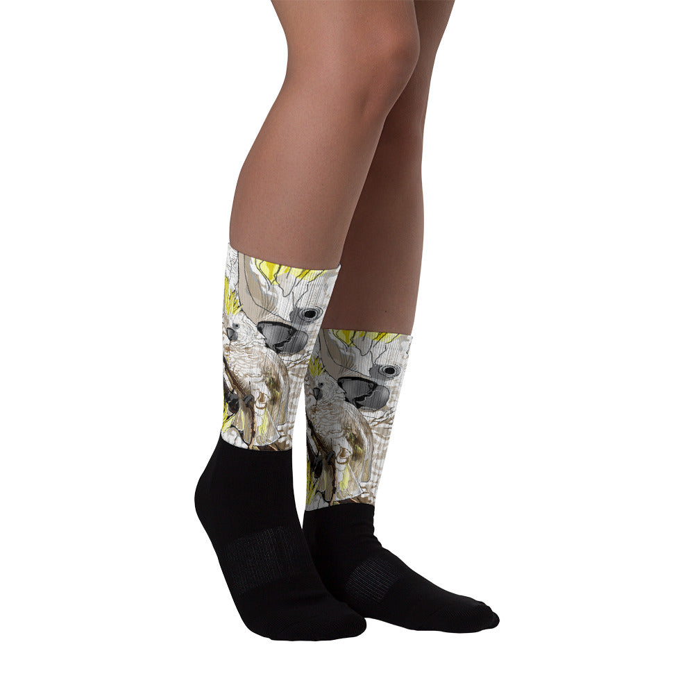 Black Foot Sublimated Socks: Cockatoo