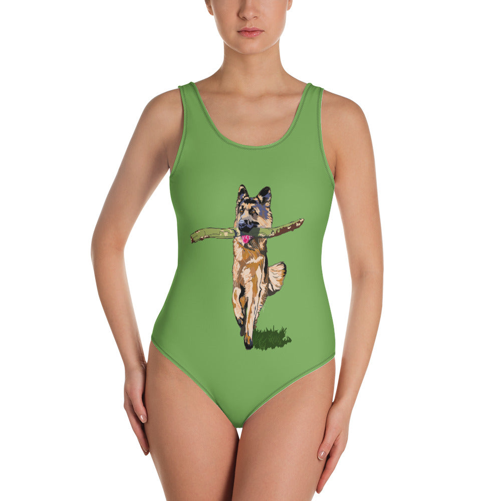 All-Over Print One-Piece Swimsuit: German Shepherd