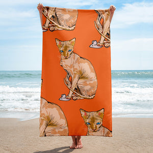 Sublimated Towel: Sphynx Cat
