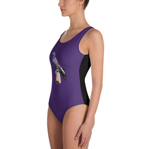 All-Over Print One-Piece Swimsuit: Pigeon