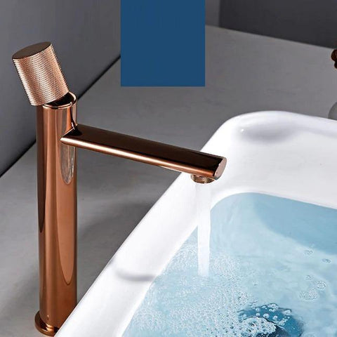 Basin Sink Faucet Bathroom Single Hole Basin Mixer/Hot & Cold Wash Basin Long Body Mixer/Basin Tap Gold White Swan Faucet (Rose Gold)