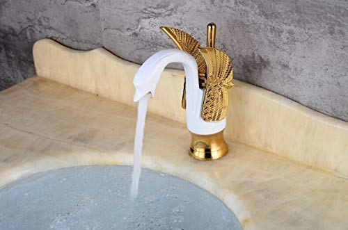 Basin Sink Faucet Bathroom Single Hole Basin Mixer/Hot & Cold Wash Basin Mixer/Basin Tap Gold White Swan Faucet (Gold White) - inartstore.in