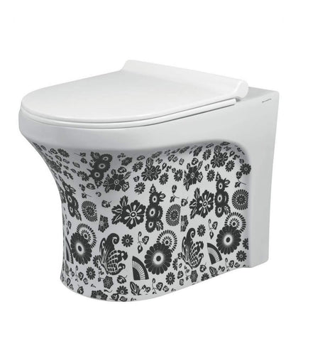 Ceramic Floor Mounted European Water Closet S Trap One Piece Western Toilet Commode with Soft Close Seat OUTLET IS FROM FLOOR 53 x 36 x 40 cm (White Black)