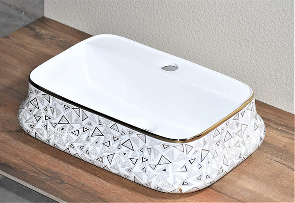 Ceramic Premium Desisgner Table Top Over Counter Vessel Sink Wash Basin for Bathroom 20 X 14 X 5 Inch Gold White Basin For Bathroom