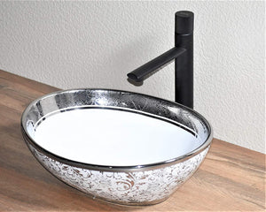 Ceramic Premium Desisgner Table Top Over Counter Vessel Sink Wash Basin for Bathroom 16 X 14 X 6 Inch Silver White Basin For Bathroom
