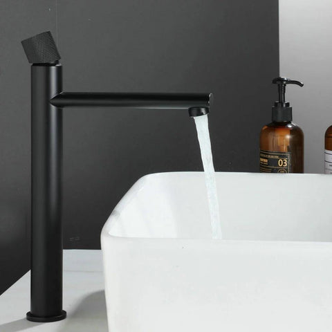 Basin Sink Faucet Bathroom Single Hole Basin Mixer/Hot & Cold Wash Basin Long Body Mixer/Basin Tap Gold White Swan Faucet (Black)