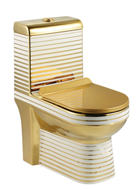 Ceramic Western Toilet/Commode/European Commode/Water Closet Square S Trap Outlet Is From Floor For Bathroom Gold White