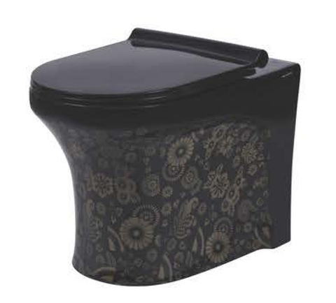 Ceramic Floor Mounted European Water Closet S Trap/One Piece Western Toilet Commode with Soft Close Seat OUTLET IS FROM FLOOR 53 x 36 x 40 cm (Black)